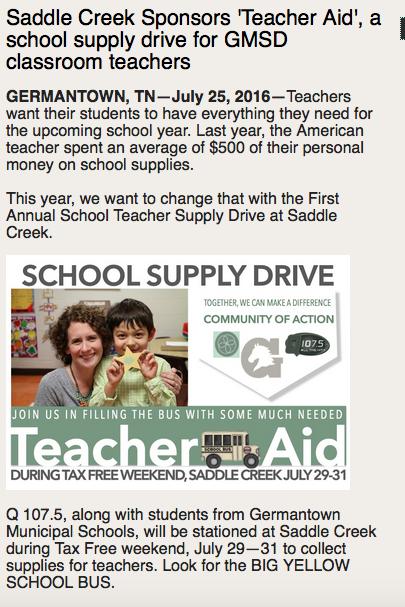 teacher supply drive treasures